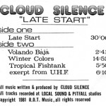 "Cloud Silence ""Late Start"""